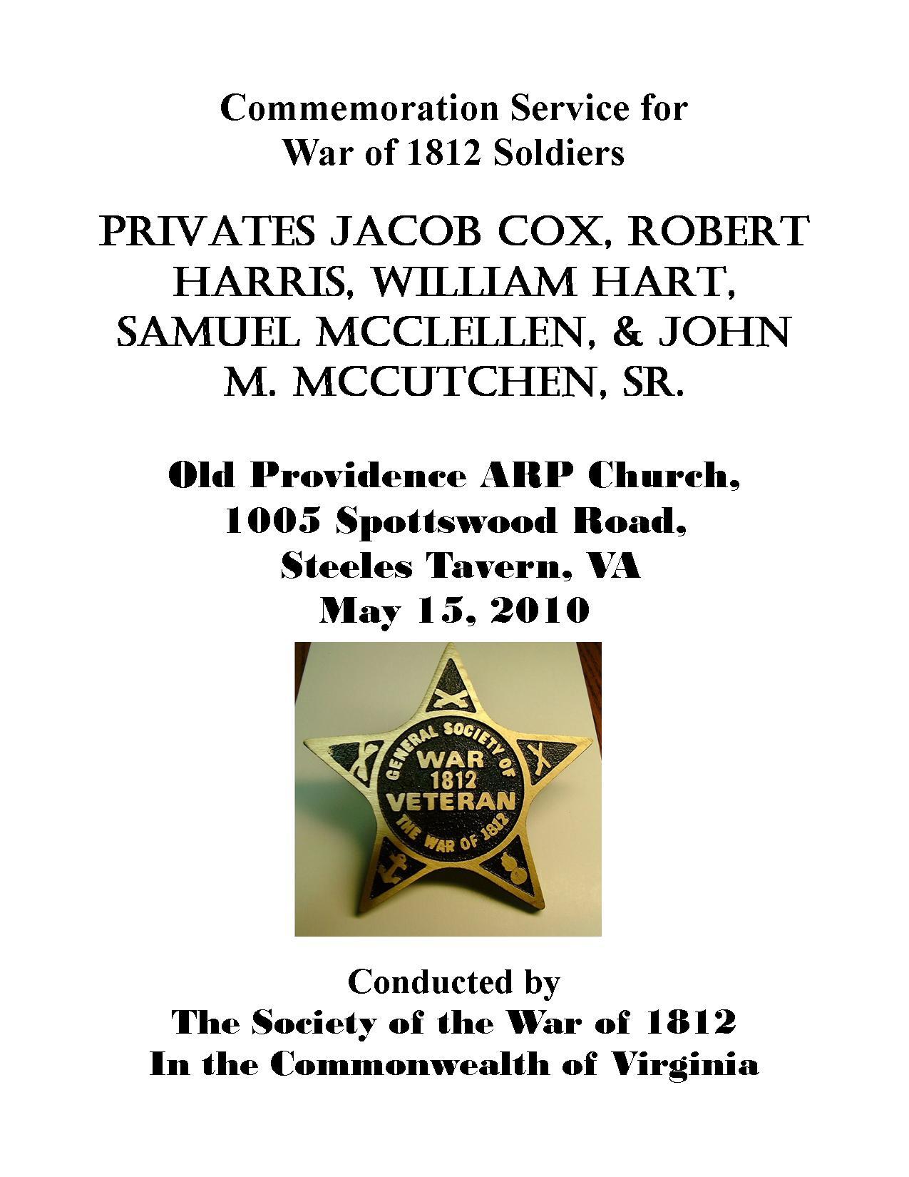 Program for 1812 burials Upper cemetery