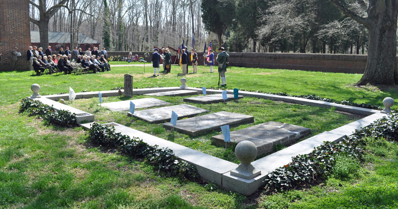 View of cemetery and ceremony