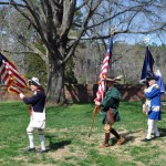 Color Guard, second in line is Star Spangled Banner flag for 1812 Society