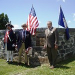 Unveiled plaque listing names of interred 1812 and Rev War veterans