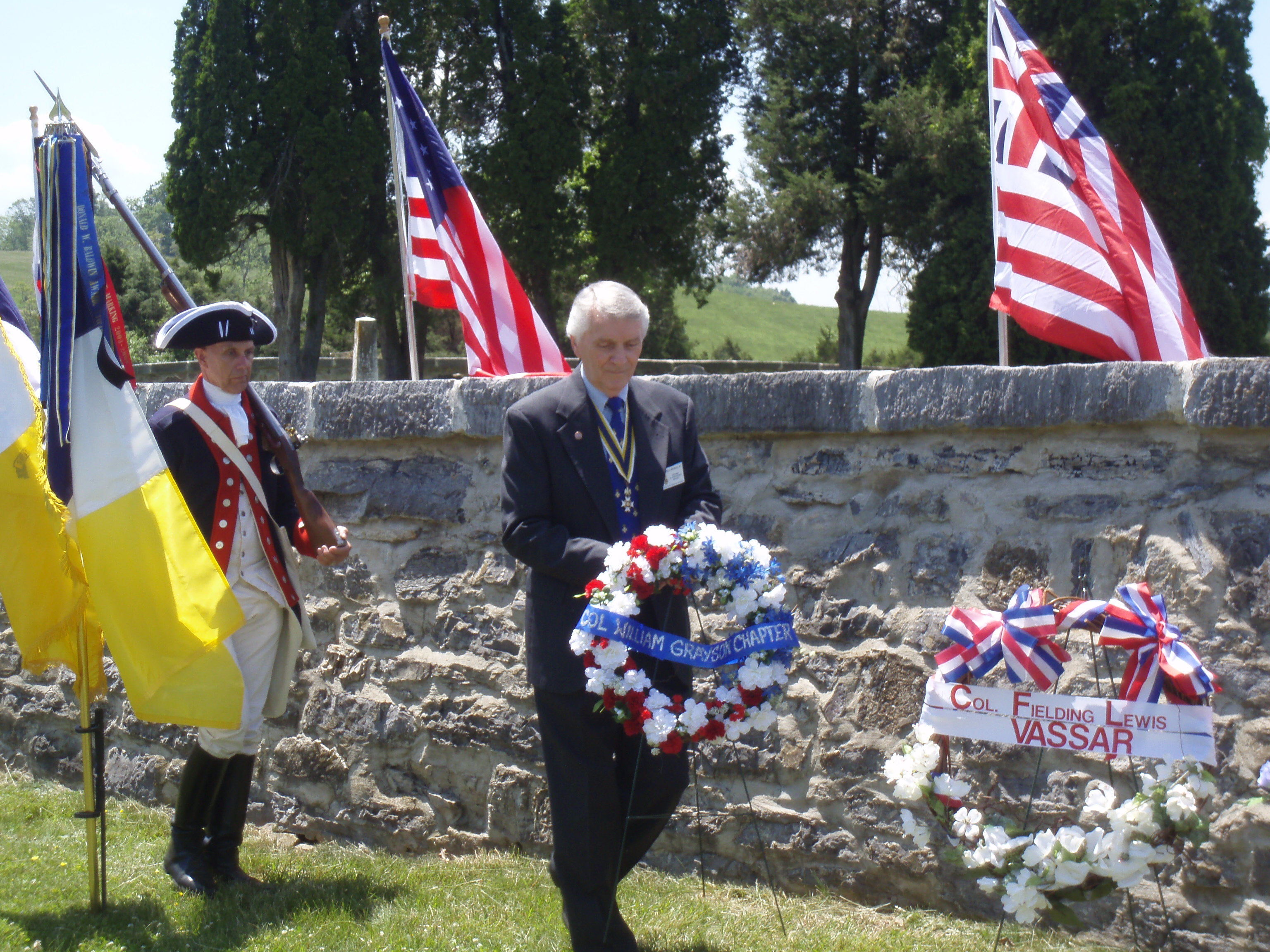 Colonel William Grayson SAR Chapter President lays wreath