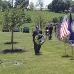 1812 member, Ron Depue lays wreath for Richmond SAR Chapter