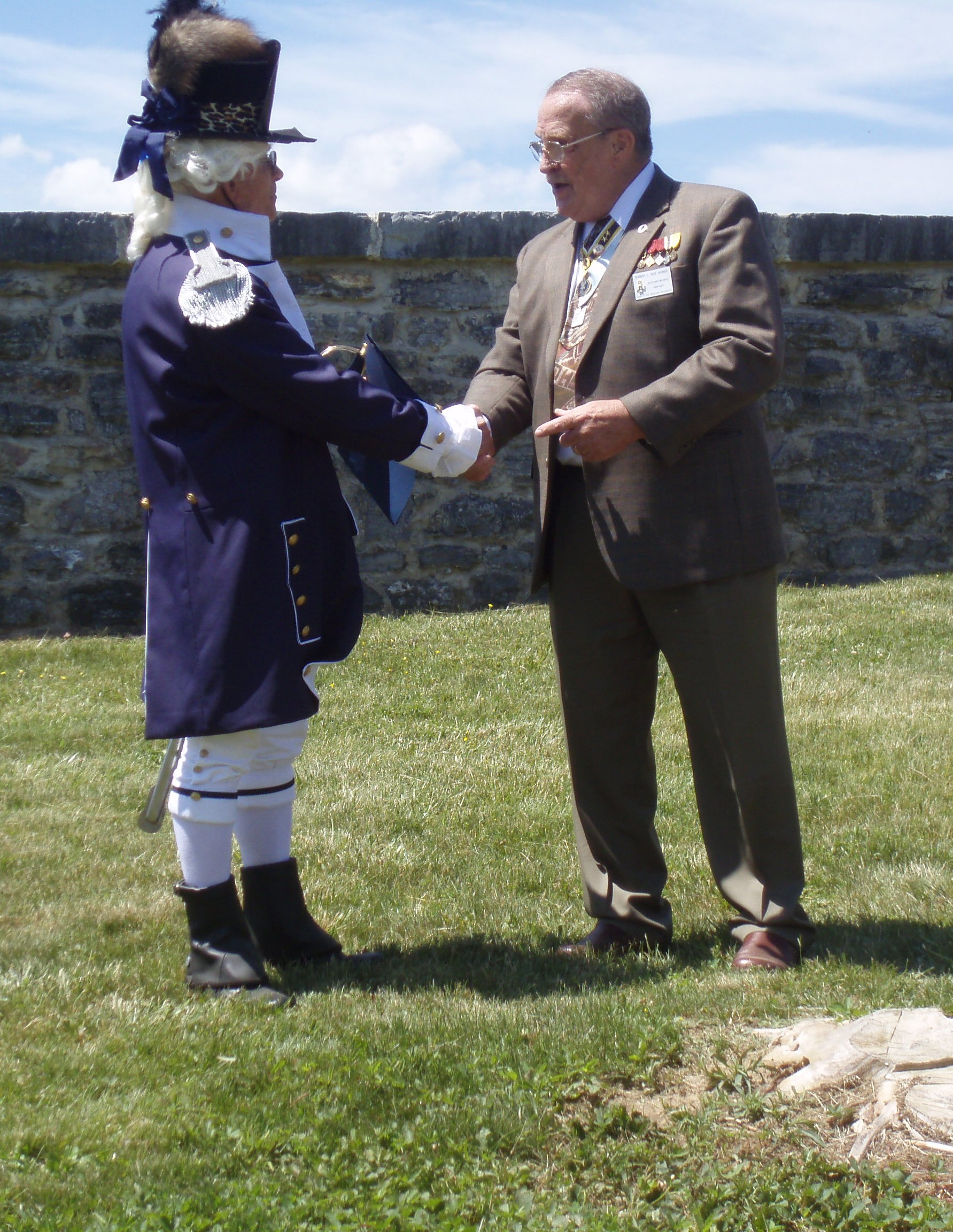 Lyman dressed as Captain, Richmond Lt Inf Blues Receives Certificate